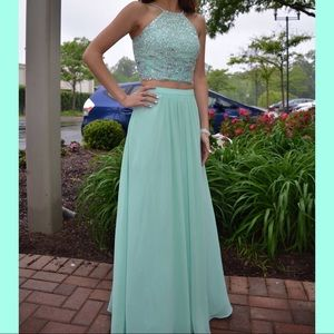Two-piece seafoam blue PROM DRESS